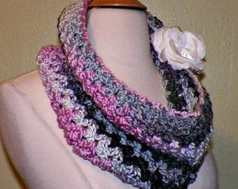 On Sale- Cowl Infinity Scarf Pink Gray Black Chunky Neckwarmer  Winter