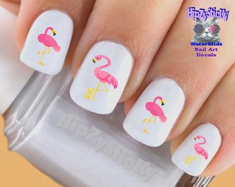 Flamingo nail art etsy animals nail decals pink flamingos 2 long legs pink bird nail art set prinsesfo Images