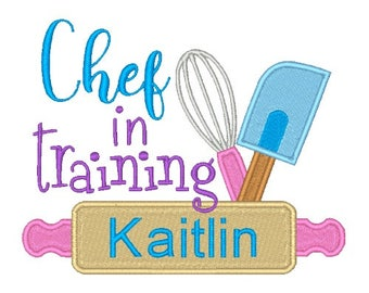 Chef in Training Machine Embroidery Design Word Art Kitchen Embroidery Designs Filled stitch 4X4 5X7 8X8 6X10 Instant download