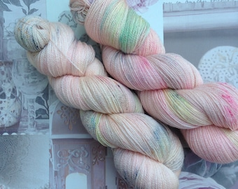 """Hand dyed yarn """"Mint Julep"""" lace weight Bluefaced Leicester (BFL) wool and silk"""