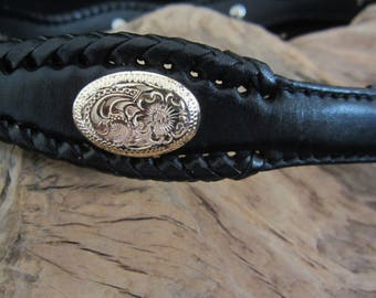 """Tony Lama Ladies Black Western Style Belt - features scalloped design with gold-plated floral Conchos. 36"""" long, size 28.  Great X-mas Gift!"""