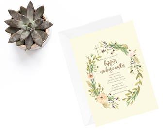 printable invitation, gender neutral invitation, Baptism Invitation, Christening, Green Laurel, Modern Invitation, Dedication Invite