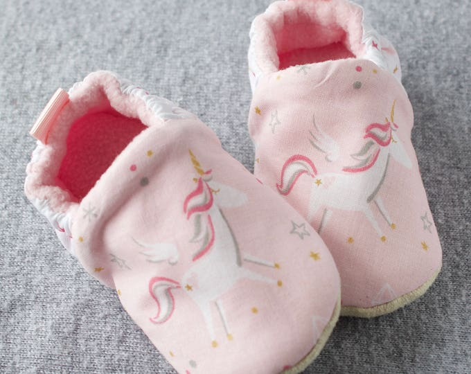 Unicorn baby girl shoes/ mocc pink and white