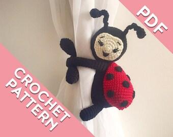 Ladybug curtain tie back crochet PATTERN, tieback, left or right side crochet pattern PDF instant download amigurumi PATTERN