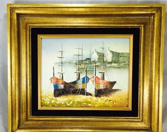 25% Off SALE Original H. Ruff Seaside Harbor Acrylic on Canvas Painting Featuring Mid Century Golden Frame