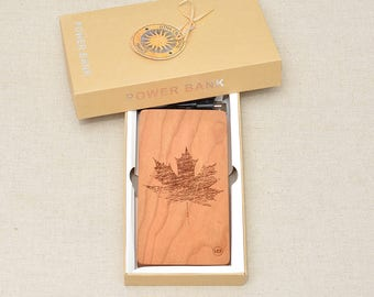 QI Wireless Charger and Power Bank Customized Engraved design MAPLE LEAF on Cherry Wood