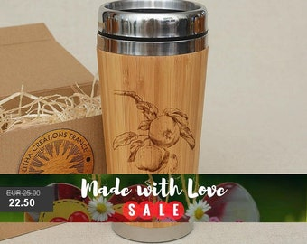 Customized Engraved Bamboo Wood Travel Mug ''Apples'', Car or Desk Coffee, Tea Cup Stainless Steel with Rubber