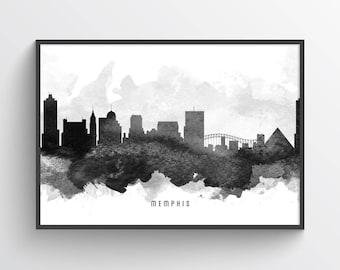 Memphis Tennessee Skyline Poster, Memphis Citscape, Memphis Art, Memphis Decor, Home Decor, Gift Idea, USTNME11P