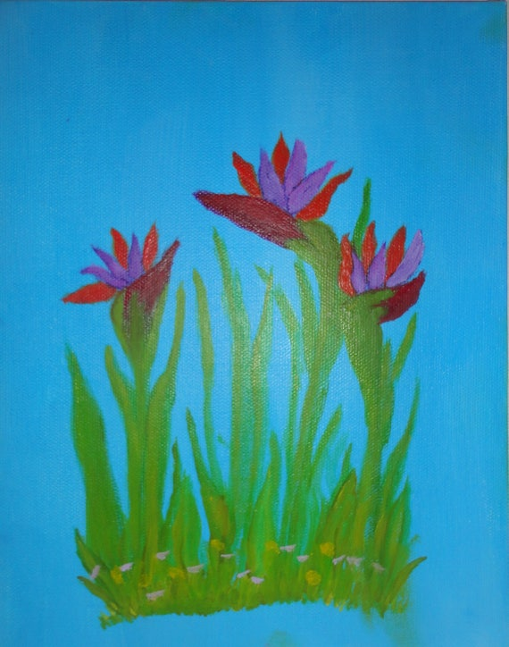 Bird of Paradise Fine Art Acrylic Painting by Rosie Foshee On Canvas Archival Quality