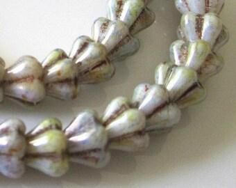 ON SALE Luster Opaque Green Mini Bell Flower Czech Glass Beads Light Green Czech Baby Bell Flowers Green Baby Bells 6x4mm (25 pcs) 14V20