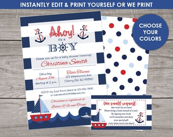 Nautical Baby Shower Invitation for a Boy- Ahoy Its A Boy - Navy and Red - Anchor and Stripes - Digital File or Printed Invitations Baby-217