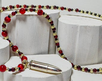 Silver Bullet Beaded Necklace