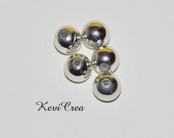 beads 20 x 8mm - silver acrylic
