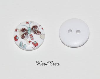 5 x White Butterfly 15mm wooden buttons
