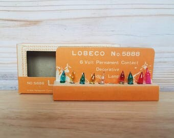 1 Box Lobeco No 5888 Vintage Glass Christmas Mini 6 Volt Permanent Contact Replacement Christmas Bulbs multicolor 9 Bulbs Midget Lamps