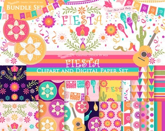 Fiesta, Sombrero, Mariachi Guitar, Mexican Hat, Wedding, Maracas, Mexican Party  Clip Art + Digital Paper Set - Instant Download