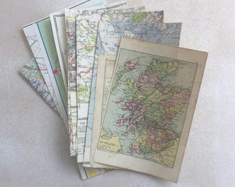 Map Mix 12 piece selection. A mix of styles and colours. For art and collage, scrapbooking or art journaling.