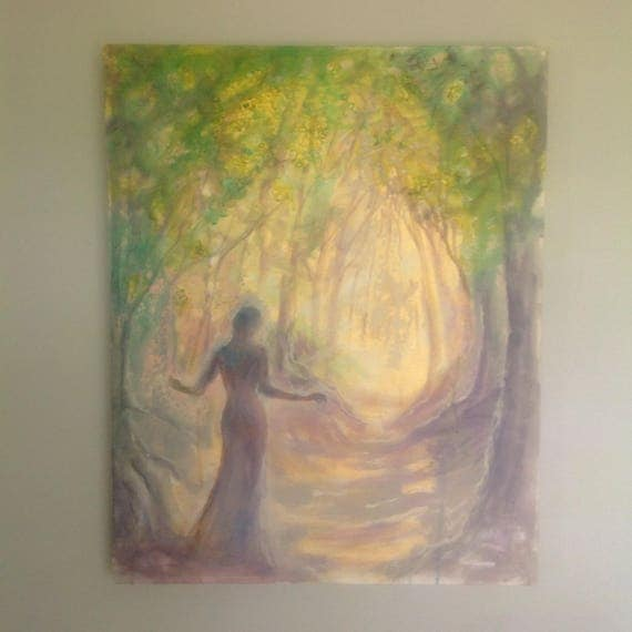 "Original Painting ""Stepping toward the Light"" 24 by 30 inch woodland woman figure gold gray"