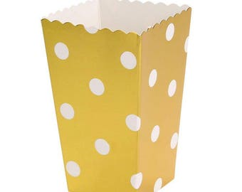12/ Polka dots Foil Gold Party Mini Popcorn Boxes/ favor boxes / treat boxes