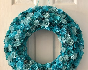 Teal Paper Flower Wreath, wedding deco, wreath, wall decor, baby shower, baby nursery, wreath, Deco Mesh alternative
