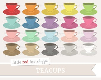 Teacup Clipart, Tea Cup Clip Art, Coffee Clipart, Coffee Cup Clipart, Tea Clipart, Icon Cute Digital Graphic Design Small Commercial Use