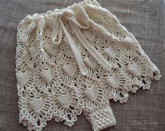Beach Fashion Shorts Crochet Gift for Her Summer Clothes Urban Style Boho Fashion Boho Style Crochet Shorts Ivory White Sea Foam Seashells