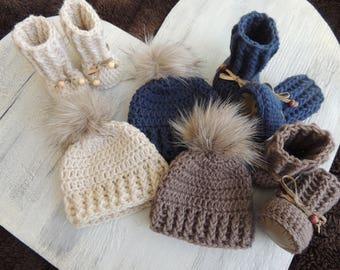 Crochet Baby Booties, Beanie Set, Luv Beanies, Crochet Booties, Boy Baby Booties, Crochet Boy Beanie, Crochet Booties, Booties for babies