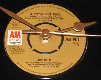 """The Carpenters Yesterday once more  7"""" vinyl record clock"""