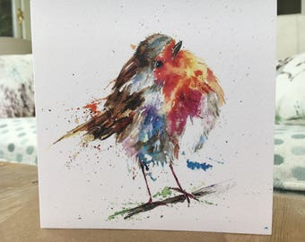 Christmas Robin Art blank Watercolour print Christmas card designed by artist Nicola Jane Rowles  . Watercolour prints