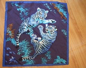 Rare Hermes Two Tigers Les Tigreaux Robert Dallet  Gavroche Pochette pocket silk scarf square blue