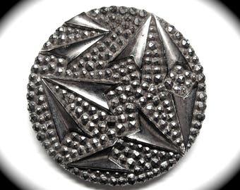 Antique Button ~ Large Victorian Era Black Glass w Silver Luster Geometric Design