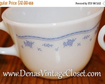 30% Off Spring Sale Vintage Pyrex Morning Blue Coffee Cups Lot of 4