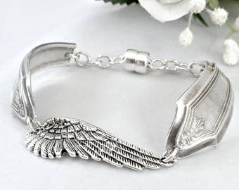 Silverware Jewelry - Silver Wing Bracelet, Angel Wings - Spoon Bracelet - Wings Charm Bracelet- Gift Idea, Best Selling Items Magnetic Clasp