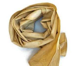 Long scarf warm cream colour plant dyed with fig leaves. Natural accessory for autumn ceremony, eco-friendly stole for wedding in october