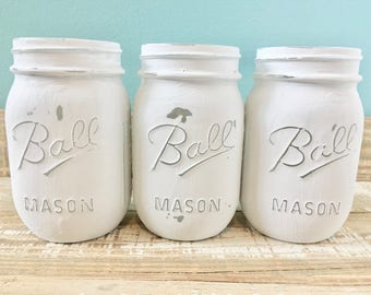 Set of 3 Painted Mason Jars