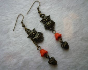 Coral winter OWL earrings