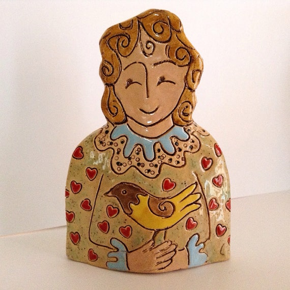 Lady with Bird.  Handmade ceramic bust, mini-bust, Colourful People, collectible, one of a kind