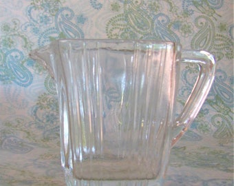 Vintage Clear Glass Creamer Pitcher, Mid Century Glass Creamer
