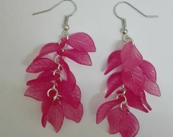 Earrings cluster-Silver - Pink leaf beads - 7.5 cm