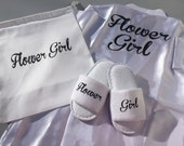 Flower girl robe, flower girl slippers, flower girl bag, flower girl set, flower girl gift, flower girl robe and slippers, bride, wedding
