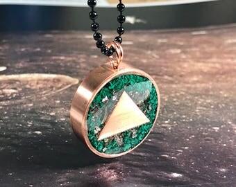 Malachite Bismuth Transformation Theme - Orgone Pendant - Negativity Blocker - shungite, black tourmaline, iron, herkimer diamond