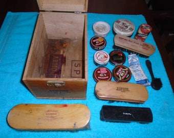 Shoe shine box. Shoe shine brushes. Shoe polish. wood box. Shoe shine