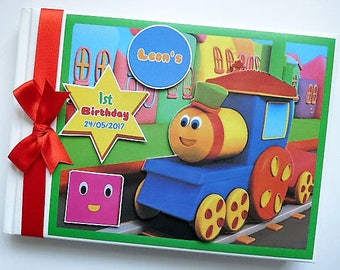 Bob the Train First Birthday Guest Book / Personalised Memory Book '1st Birthday' - any design