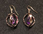Orbit Earrings Rose Gold with Amethyst 3D Design