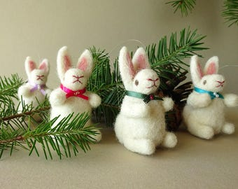 Handmade Holiday Decorations | Christmas Tree Decorations | Gift Set of 4 Bunny Rabbits | Wildlife Inspired Ornaments | Christmas Ornaments