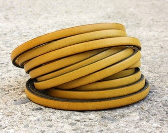 Leather strap flat yellow 5 mm by 20 cm