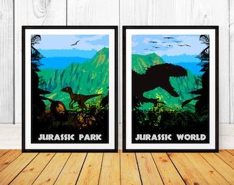 Alternative Jurassic Park and Jurassic World Print Set - Jurassic Park - Jurassic World (Available In Many Sizes)