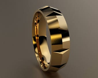Yellow Gold 6mm Mens Wedding Band 14kt Knife Edge Ring W