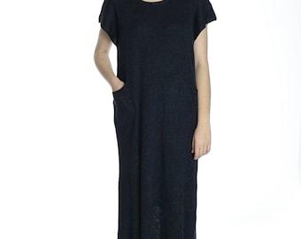 Special price. Handmade ocean blue linen long minimalistic dress, XL size.