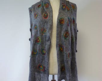 Artsy ethnic grey mohair vest, L size.